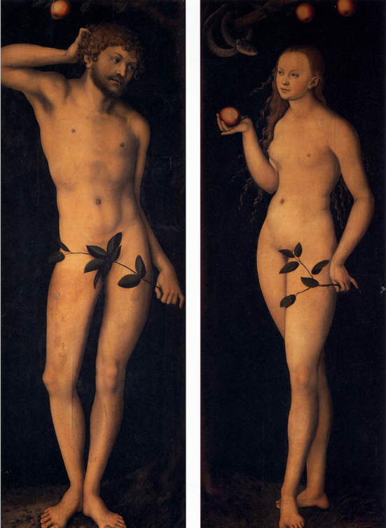Adam and Eve, Cranach, Lucas the Elder, 1528, Oil on Wood, 172 x 63 cm and 167 x 61 cm, Galleria degli Uffizi, Florence, Italy.