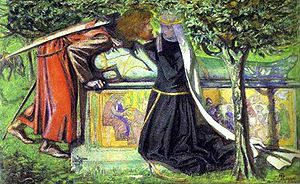Arthur's tomb - the last meeting of Lancelot and Guinevere, Dante Gabriel Rossetti