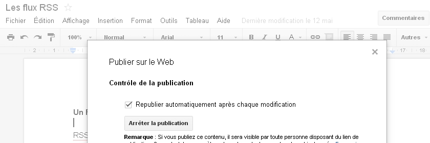 comment publier un document google docs sur le web