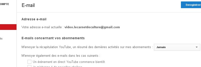 notification e-mail sur Youtube