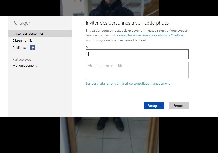 partager OneDrive photos