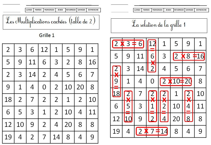 Les multiplications cach es tables 2 3 4 5 le blog de monsieur mathieu - Table d addition ce1 a imprimer ...