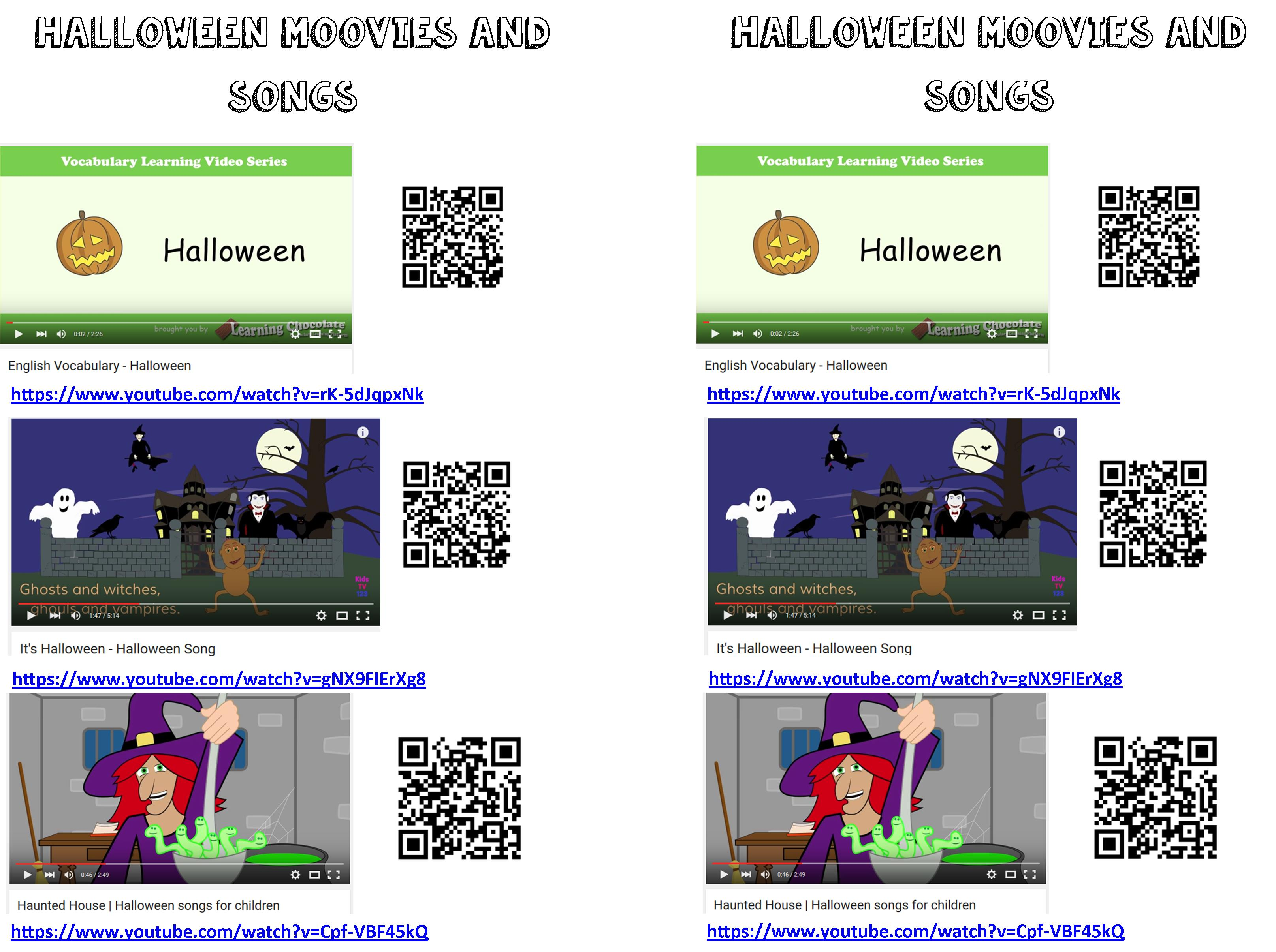 videos et chansons halloween
