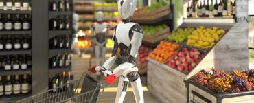 Robot faisant ses courses dans un supermarché