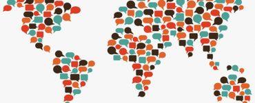 Carte du monde en bulles de paroles