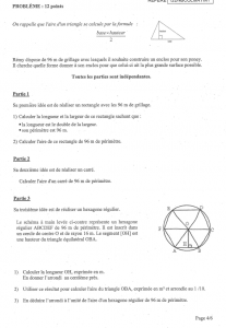 Brevet Maths Pondichéry 2012