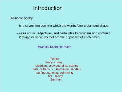 how to write a diamante poem