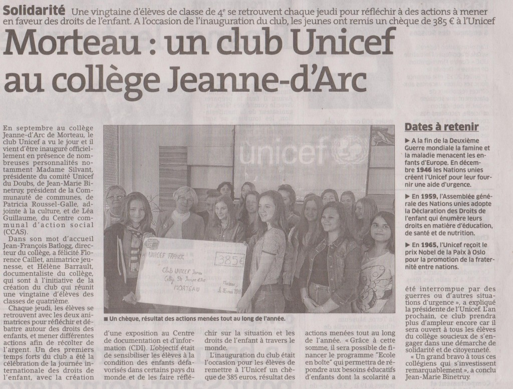 ARTICLE UNICEF JUIN 2016 001