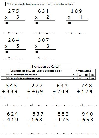 Valuation calcul ce1 le blog de monsieur mathieu - Evaluation tables de multiplication cm1 ...
