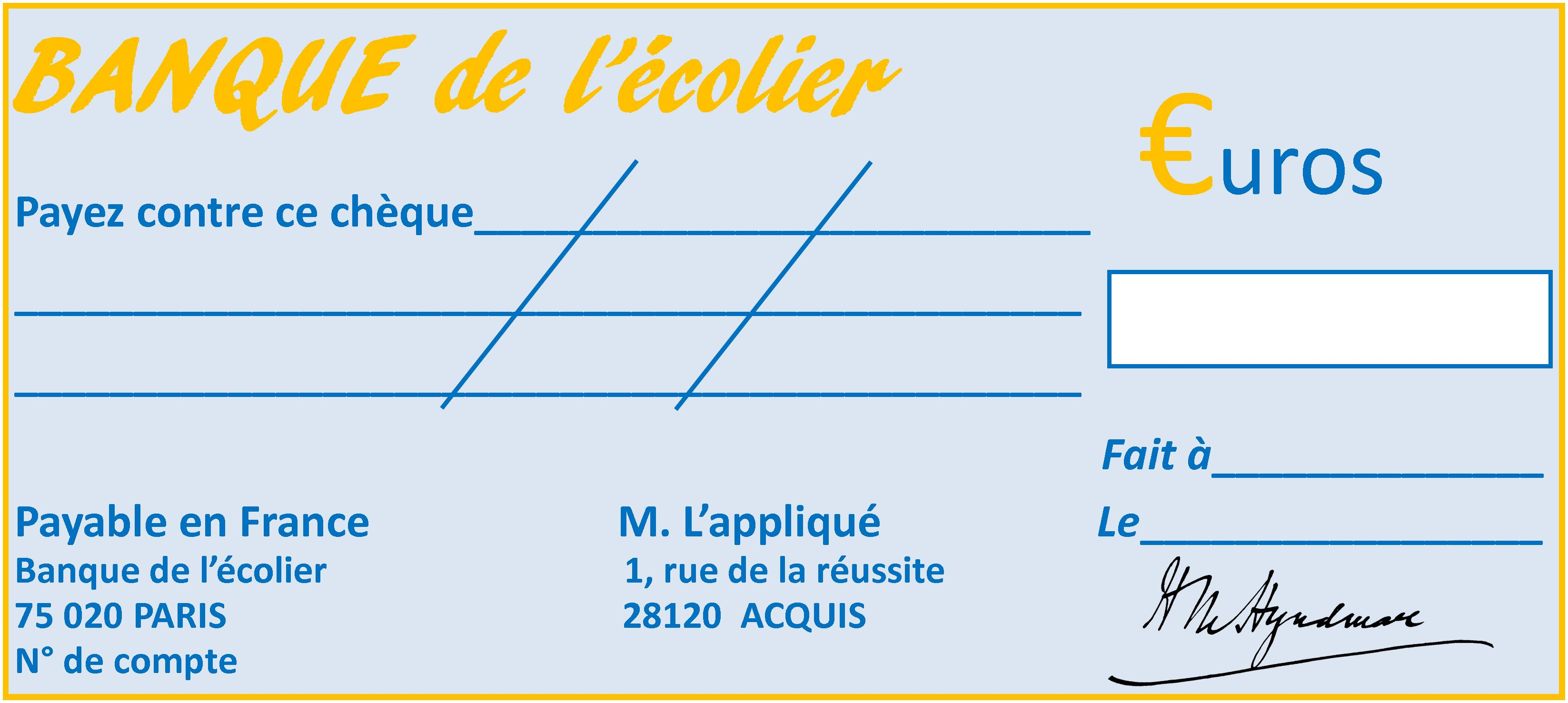 cheque factice