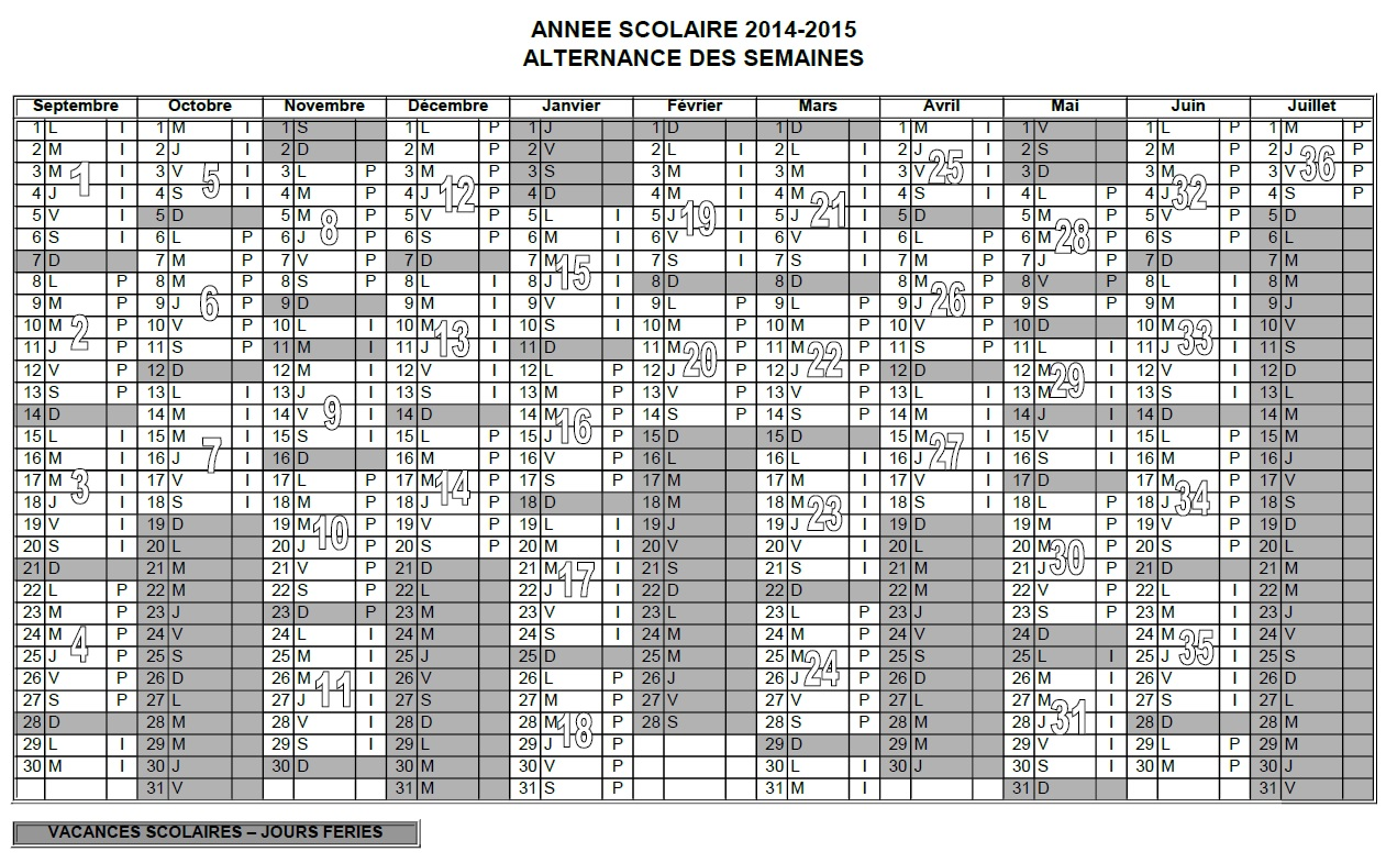 calendrier 2015 semaines paires